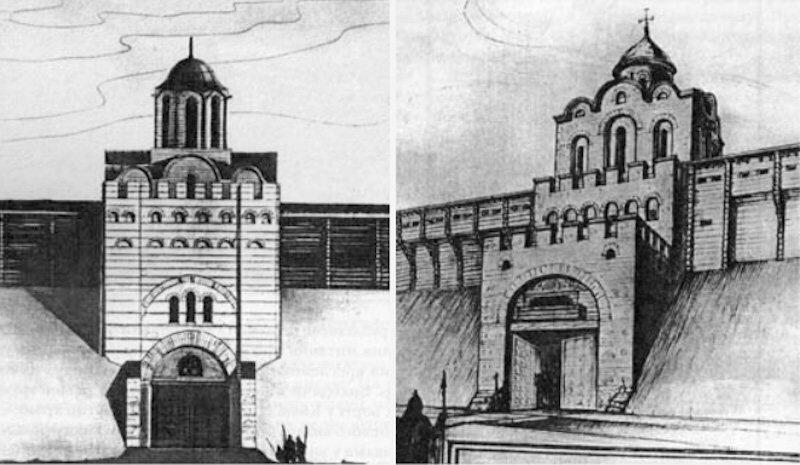 Реконструкції Золотих воріт: ліворуч - М.Холостенка, праворуч - Ю.Асєєва